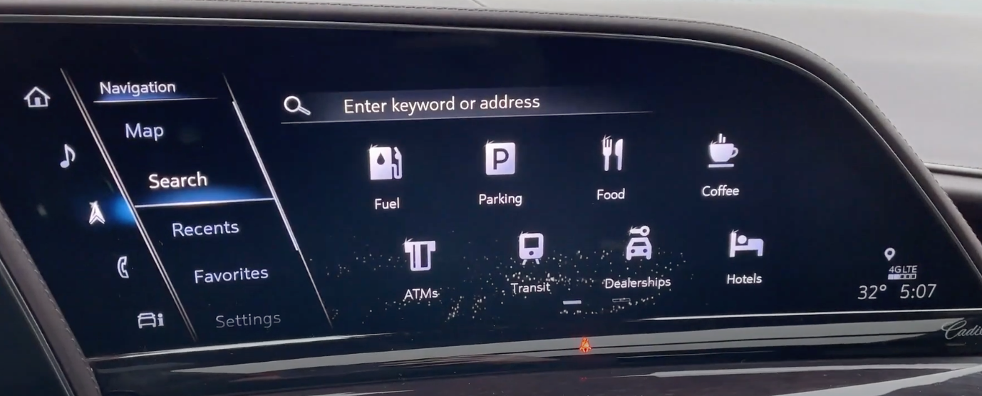 A list of point of interests within the navigation system