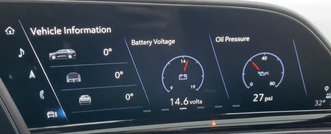 Various information about the vehicle such as battery voltage and oil pressure