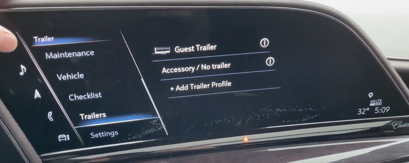 Towing/Trailer settings such as adding a trailer profile