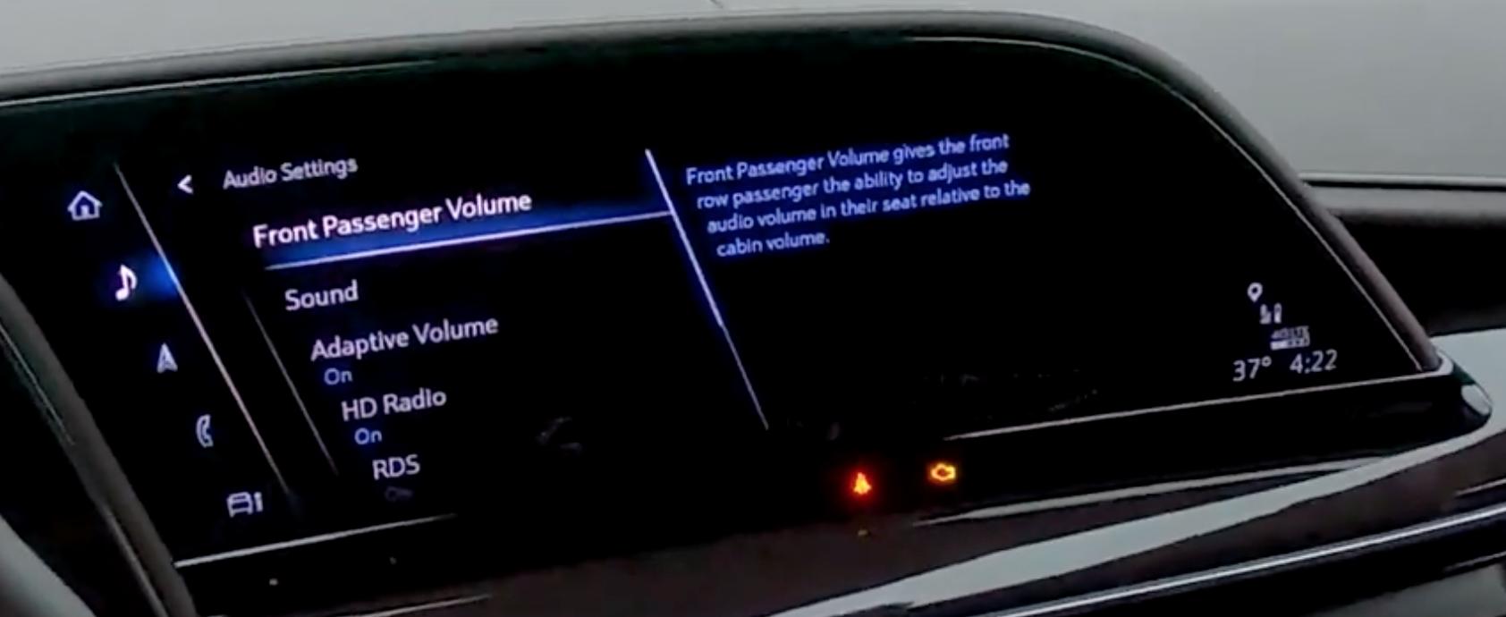 Front passenger volume settings for media sounds