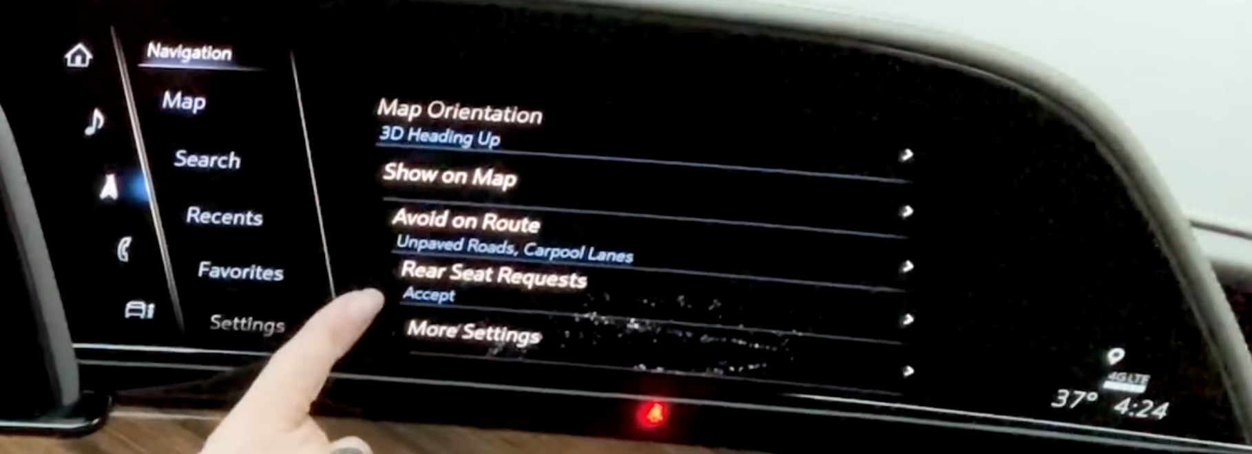 List of various settings for the navigation system such as map and route settings