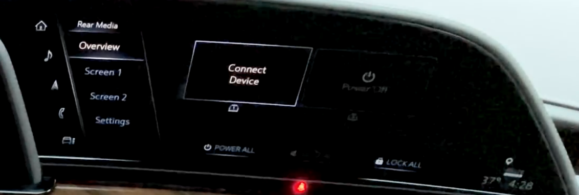Settings for the back passenger seats' screen and choosing the media source and option to check each screen and general settings