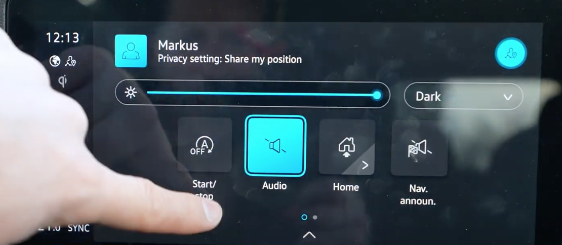 Various settings for the infotainment display such as media volume and navigation sounds or brightness