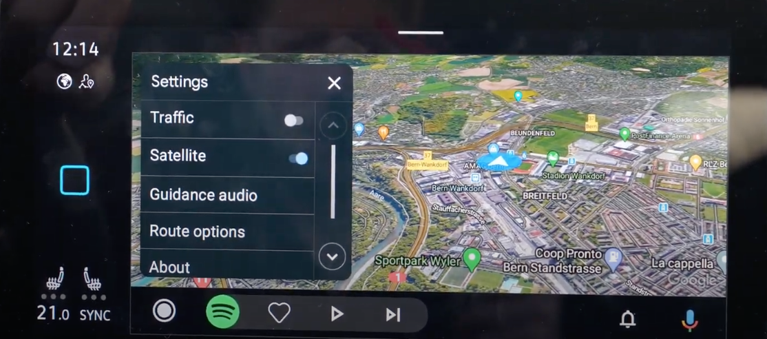 How the Android Auto map interface looks on the infotainment screen
