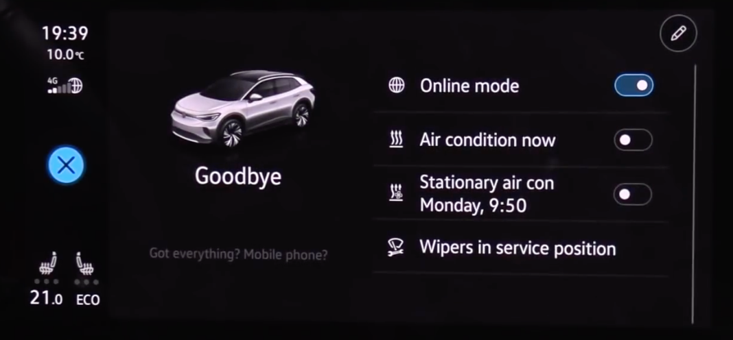 Goodbye screen mode with a few presets about climate and a written reminder for the user so they do not forget anything in the vehicle