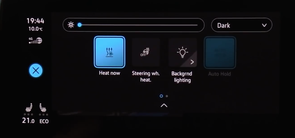 A few interior setting buttons including heat, steering wheel heat and interior lighting