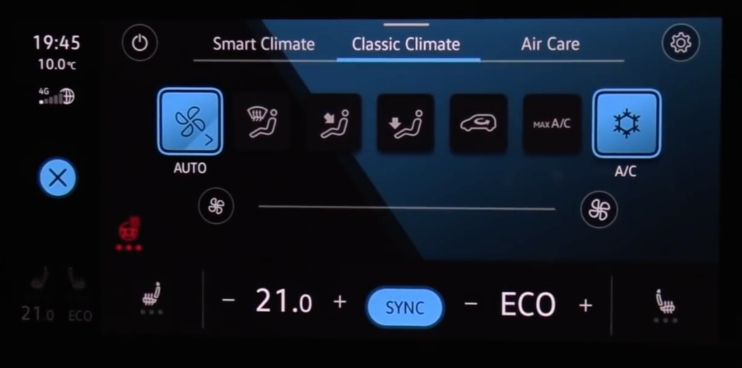 Adjusting climate settings through digital buttons