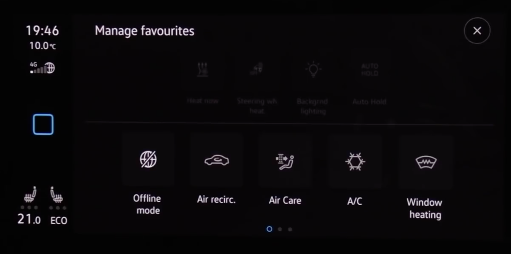 Managing the favorite shortcuts that are on the home screen of the infotainment display