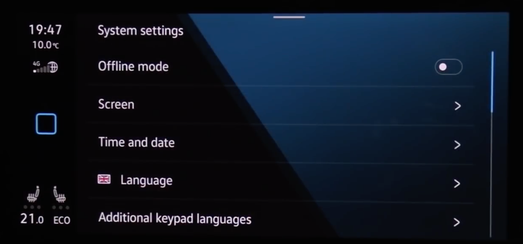 A list of various general infotainment setting such as language, time and date