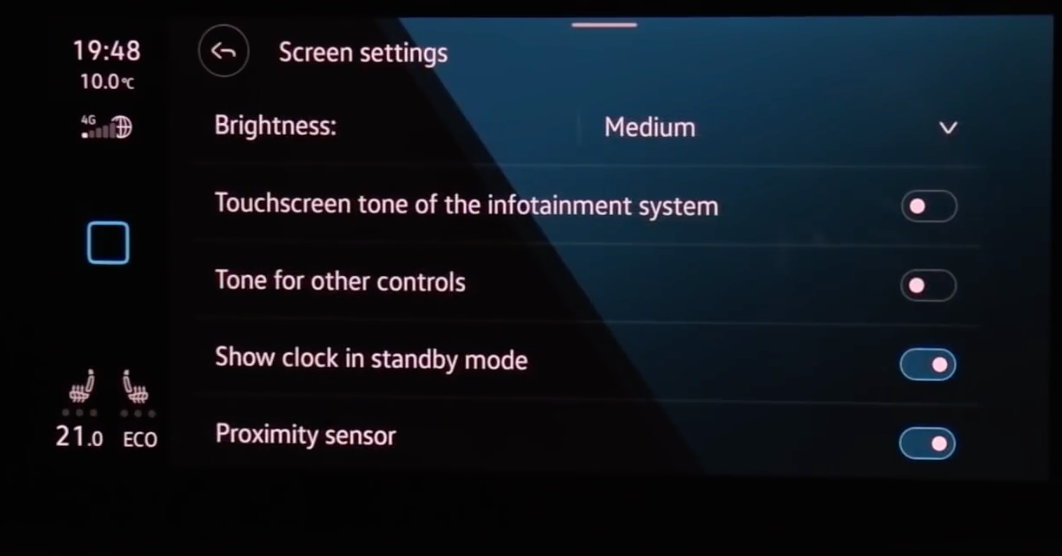 Adjusting display settings such as touchscreen tone through tapping on toggles to turn on and off