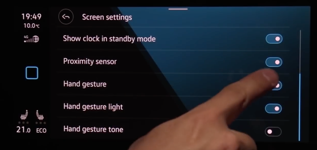 A list of various settings for the infotainment system such as hand gestures and display sensitivity