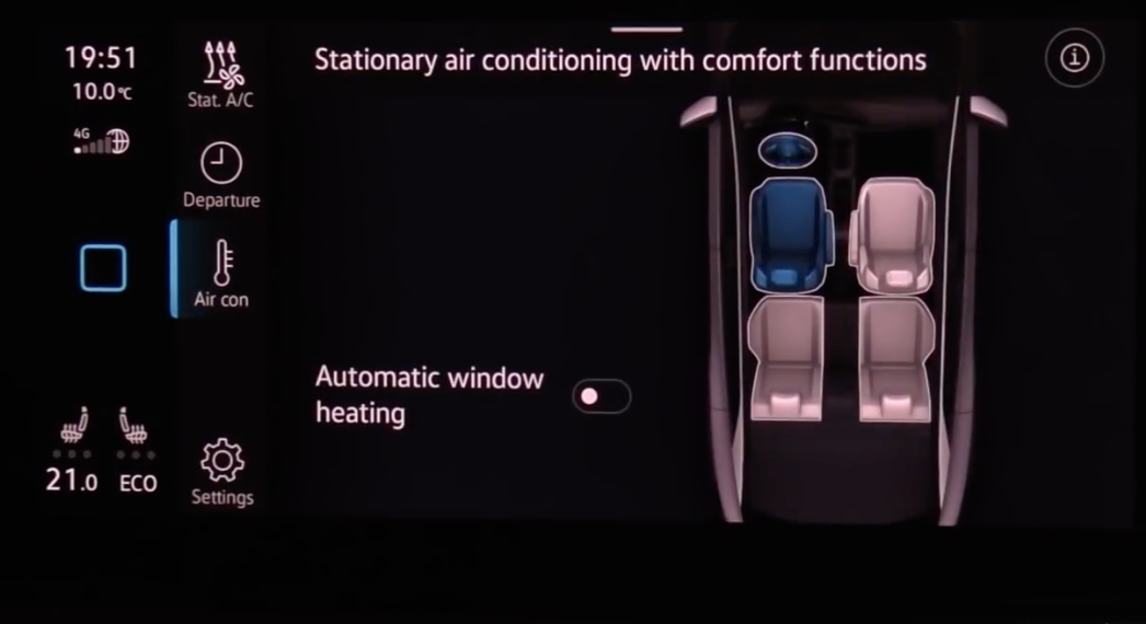Turning on and off defrosting with an illustration of the interior of a car on the side