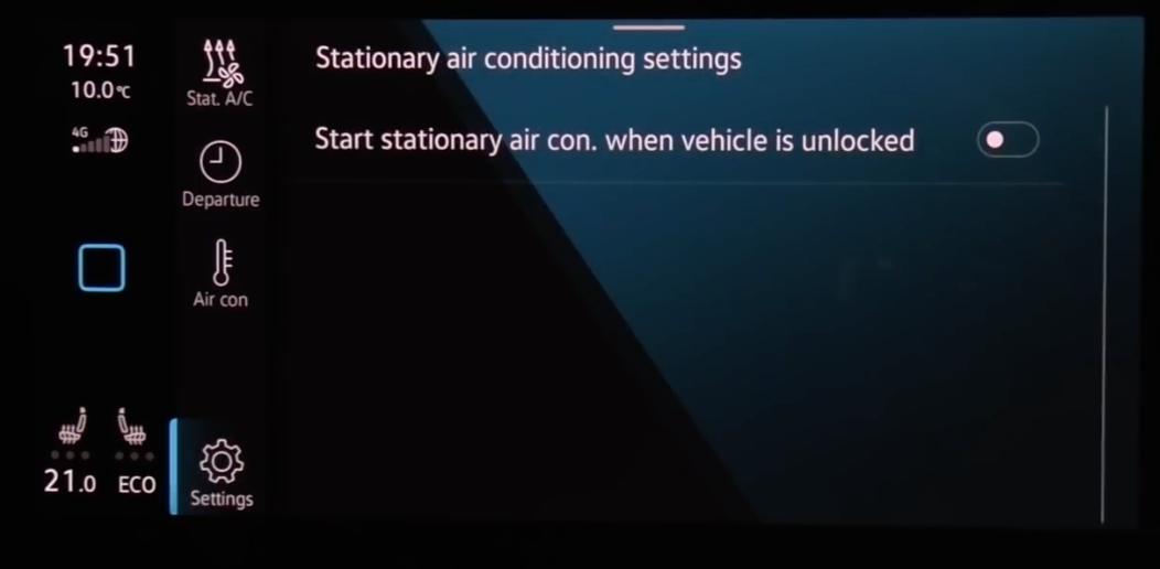 Option to turn on or off air conditioning when vehicle is unlocked