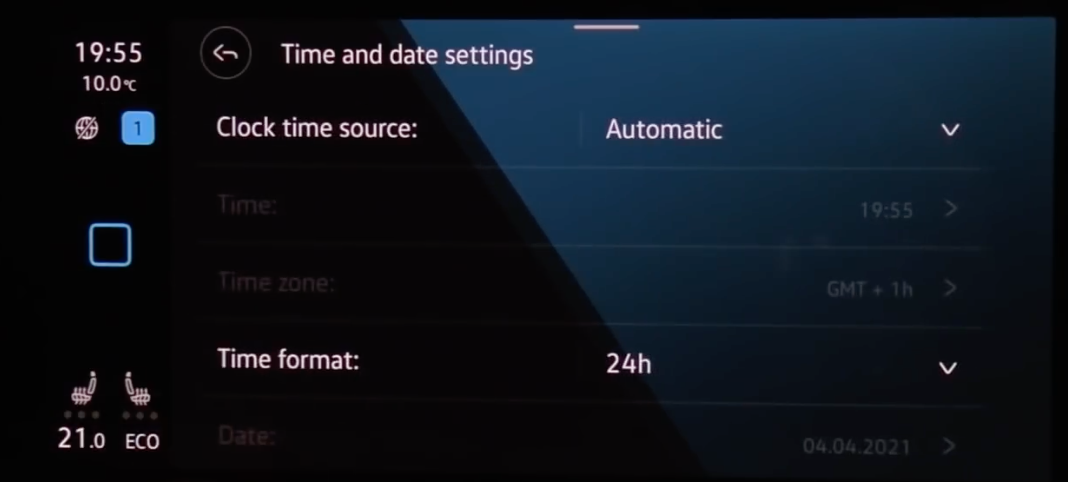 Adjusting the settings for the clock such as time source and format through drop-downs