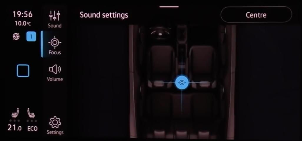 Adjusting the sound settings through an illustration of the interior of a car