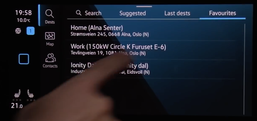 A list of favorite addresses that are saved on the infotainment system