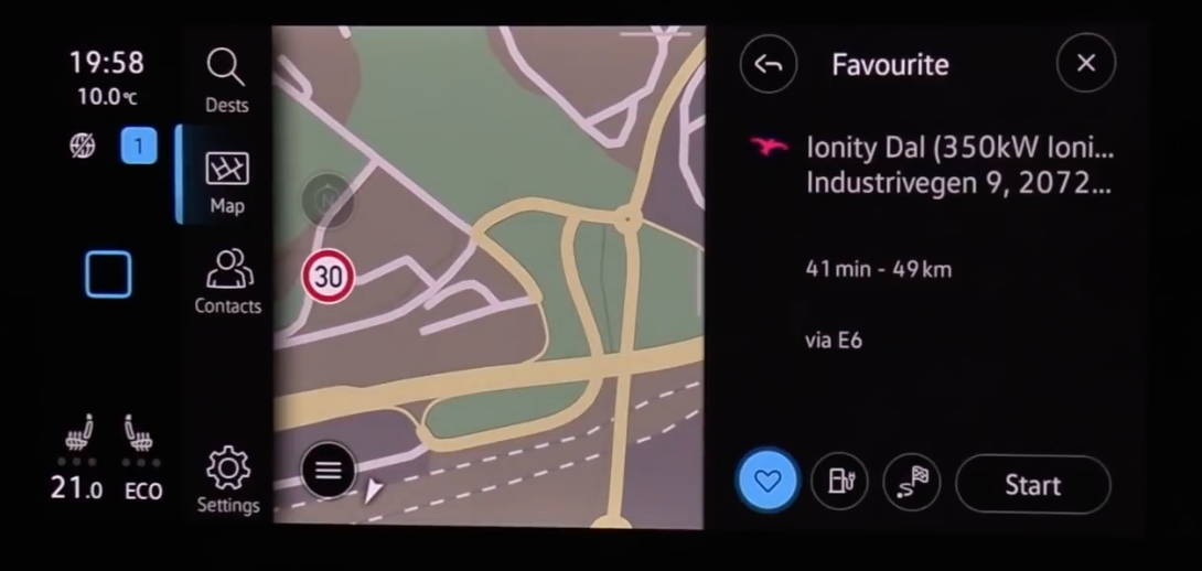 Route preview and information about the route before a user presses on start guidance