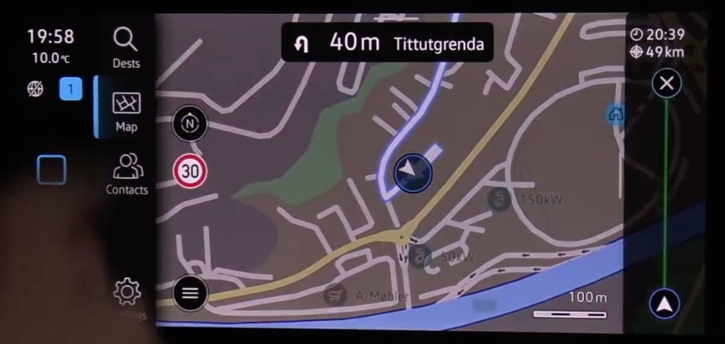 Turn by turn navigation guidance with the journey highlighted in blue and an arrow to show where a user is currently is located
