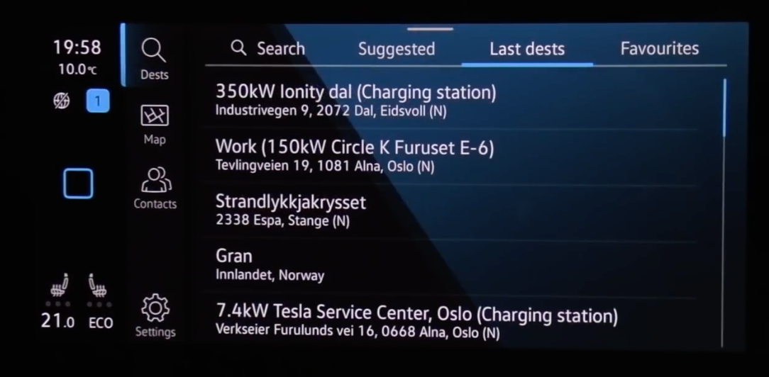 A list of recent destinations displayed on the screen within the navigation system
