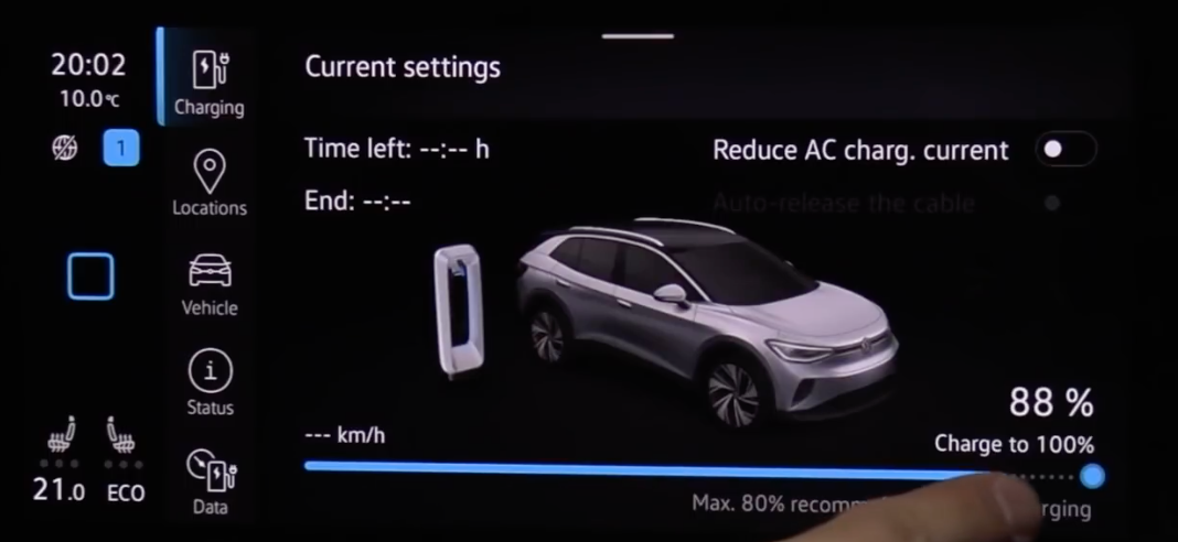 Adjusting the settings for the charging limit of the vehicle through a slider