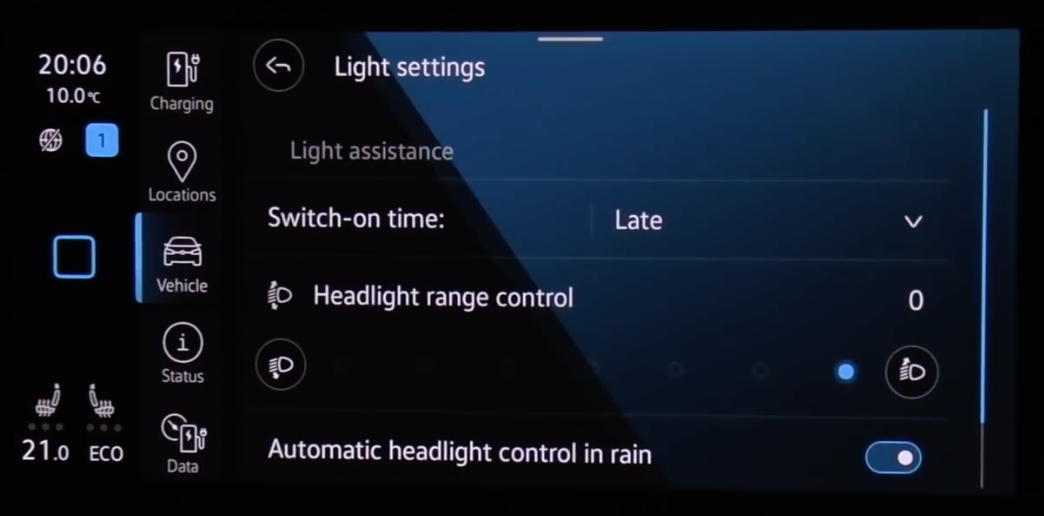 Adjusting the exterior light settings such as headlights