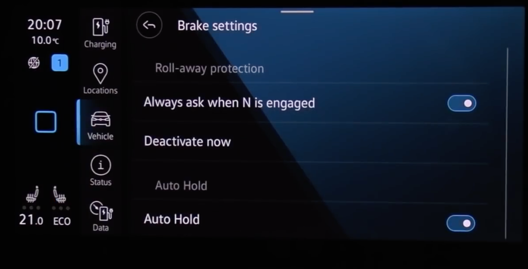 A list of various brake settings to turn on and off through toggles