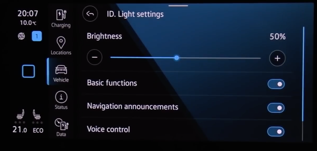 General infotainment display settings such as brightness and basic functions
