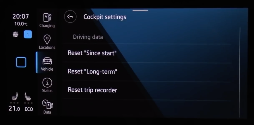 Reset settings for the cockpit and the data that is being collected from the vehicle,