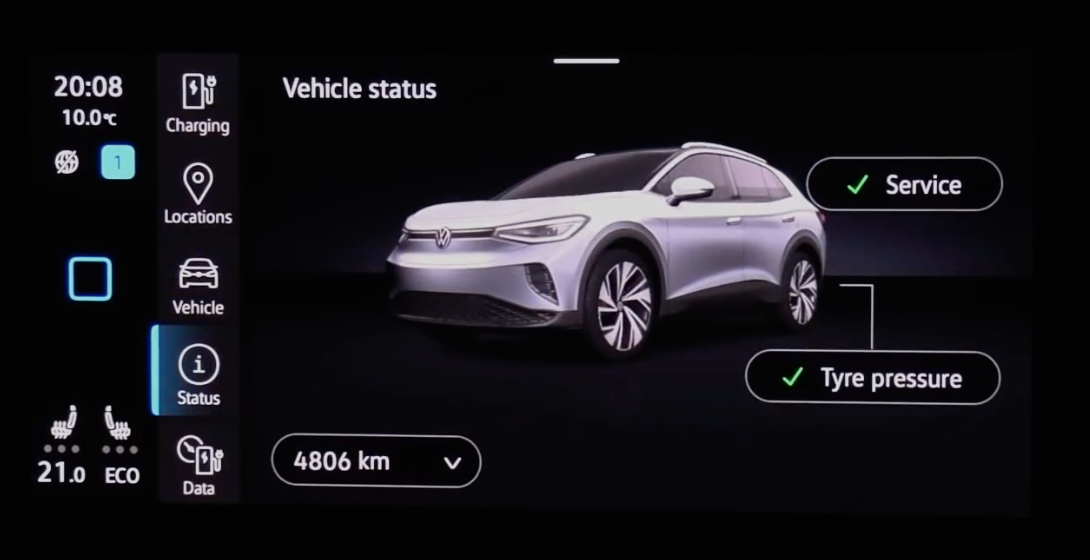 Status information about the car such as service and tire pressure info with a 3D vehicle model