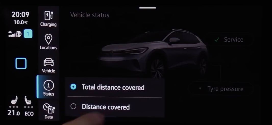 Within the status page choosing to display distance covered or total distance covered