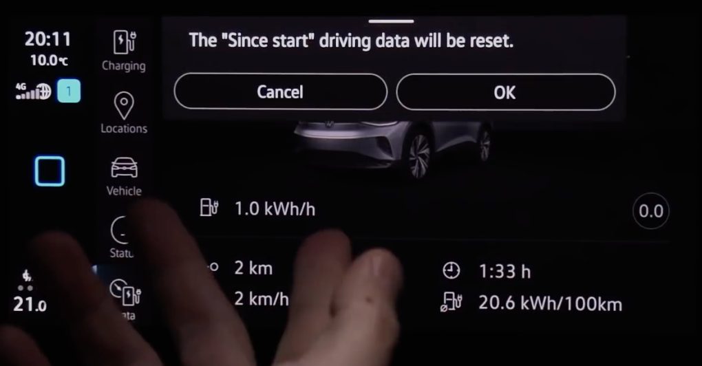Resetting driving data by clicking on the digital button ok or cancel