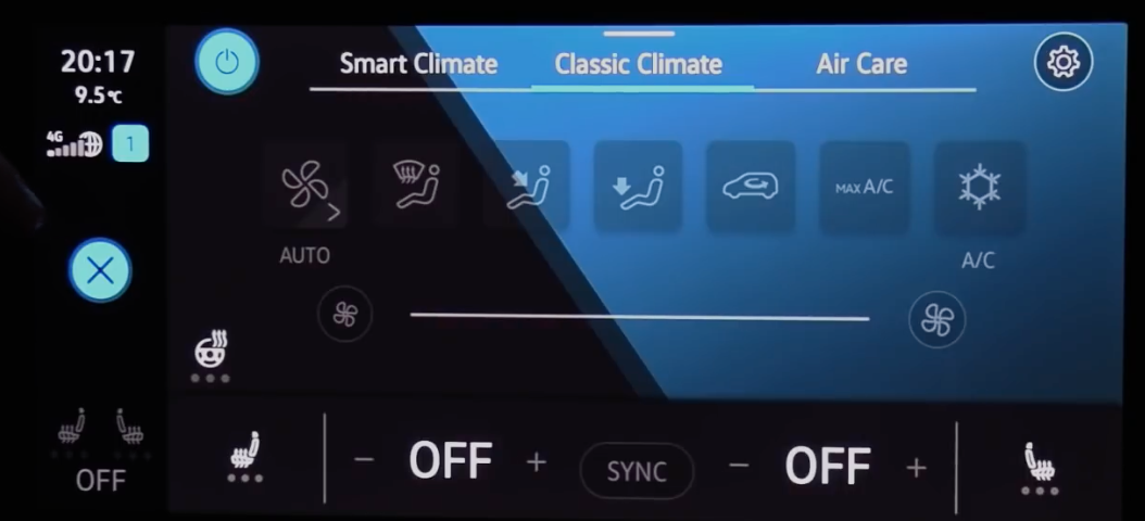 General climate settings page such adjusting heat, air flow etc