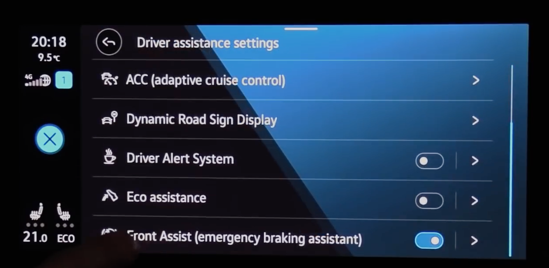 A list of various driver assistance settings such as cruise control and alert systems