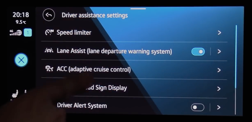 List of various driver assistance settings such as speed limiter and lane assists systems