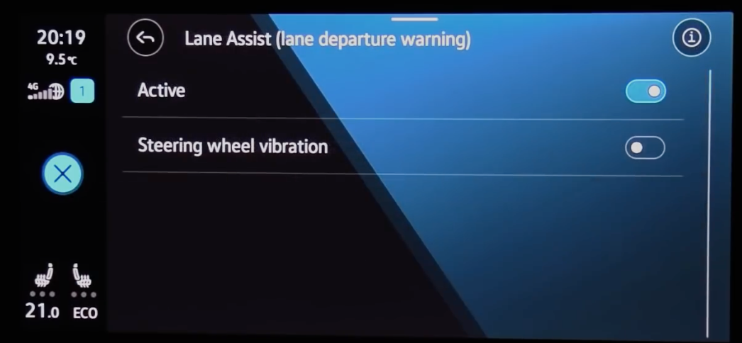 Turning lane assists and steering wheel vibration on and off through toggles