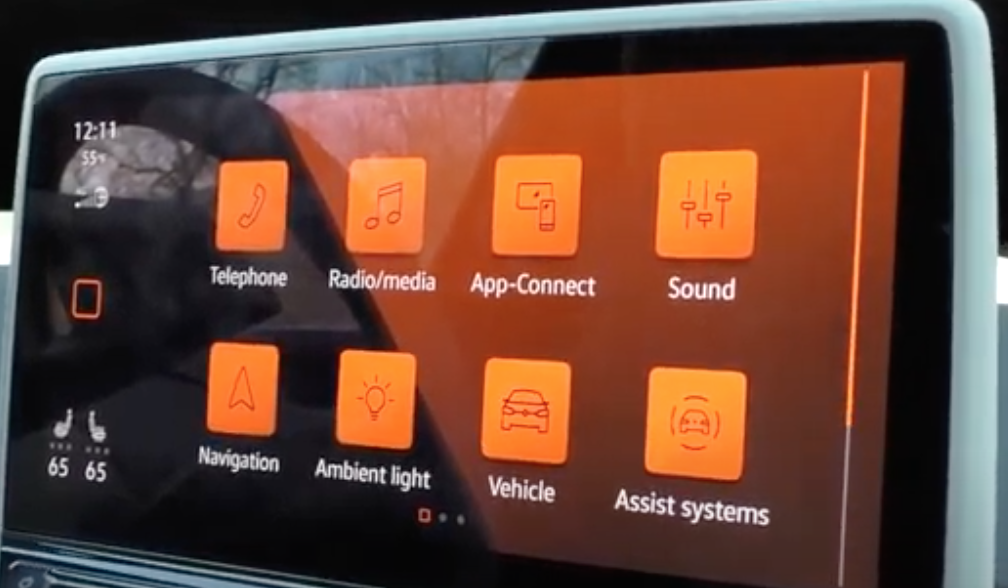 A list of various apps that are in the infotainment system and their icons