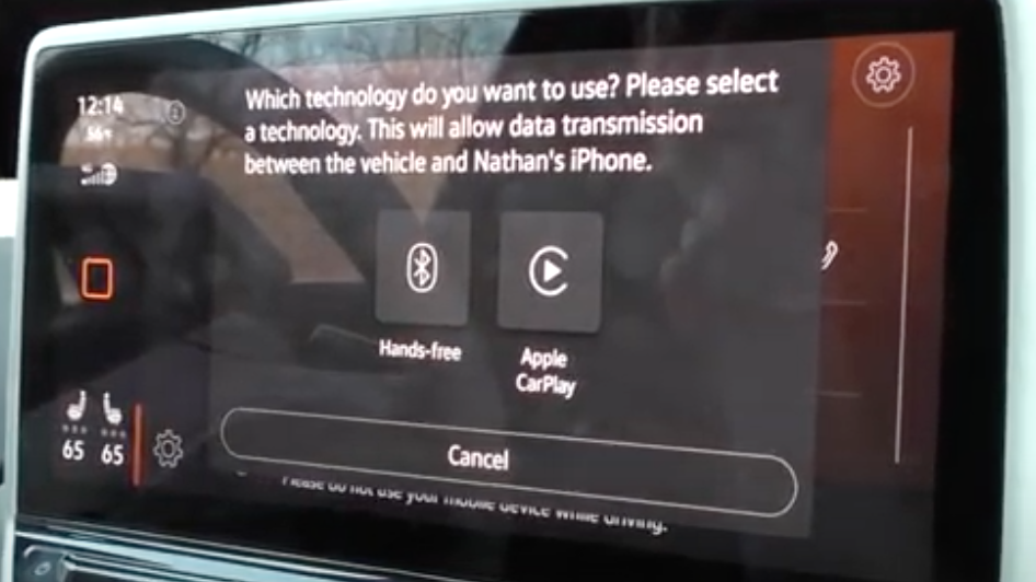When a phone is being paired with the vehicle the user gets the option to use Apple Carplay or Bluetooth