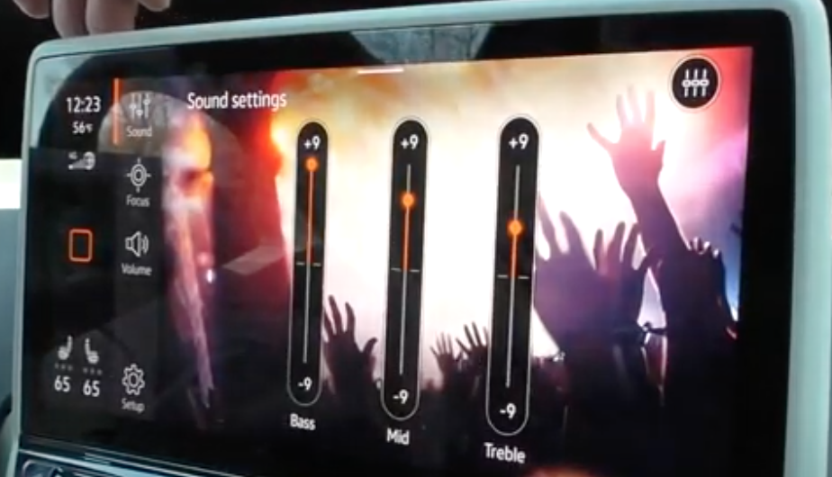 Adjusting the media sound for bassm mid and treble settings through sliders
