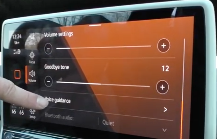 Adjusting the volume settings for goodbye tone and voice guidance through sliders