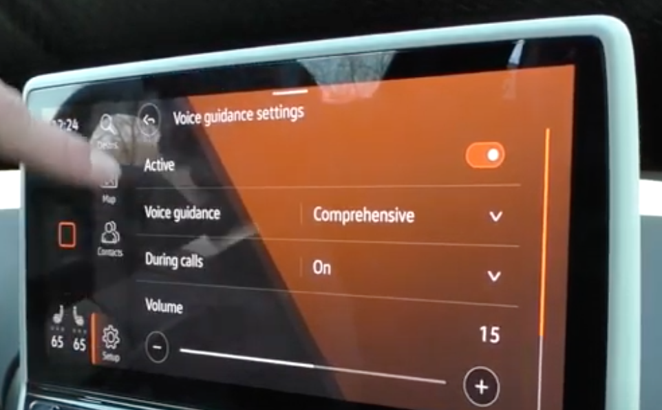 Adjusting the voice guidance settings such as turning it on and off or adjusting the volume through a slider