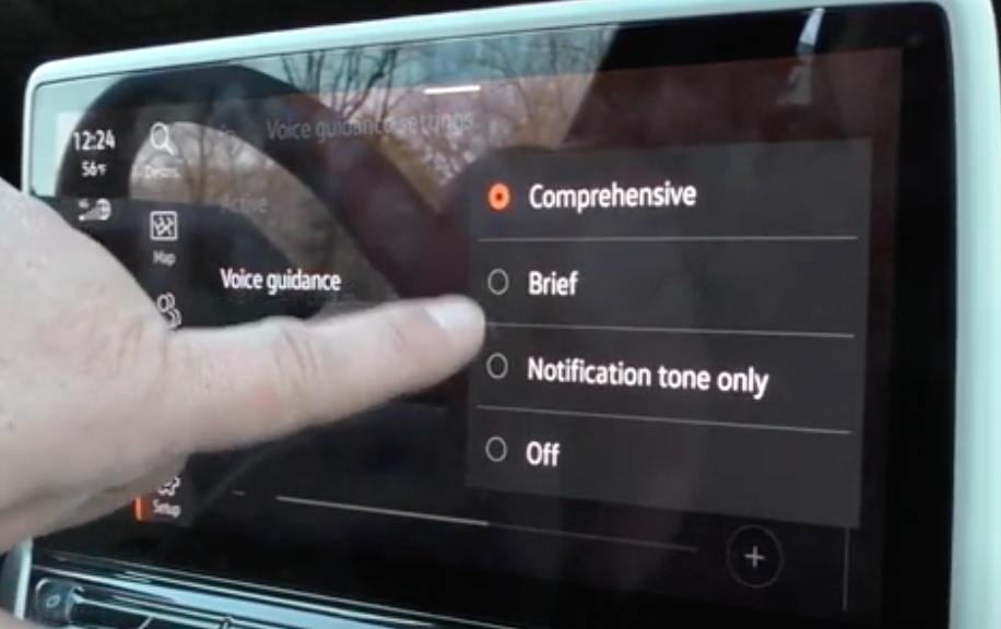 Choosing the voice assistant to be comprehensive, brief, notification tone or off