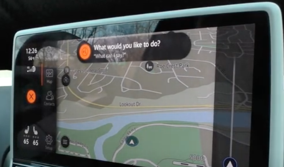 A view of the map with the icon of the voice assistant ready to take command from a user