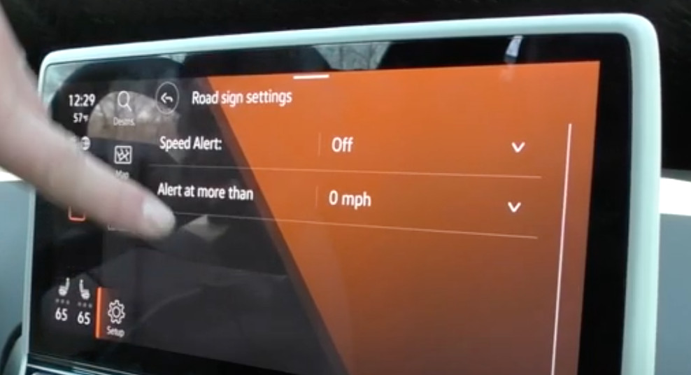 Turning on and off the speed alert monitor and adjusting what speed it should alert a user