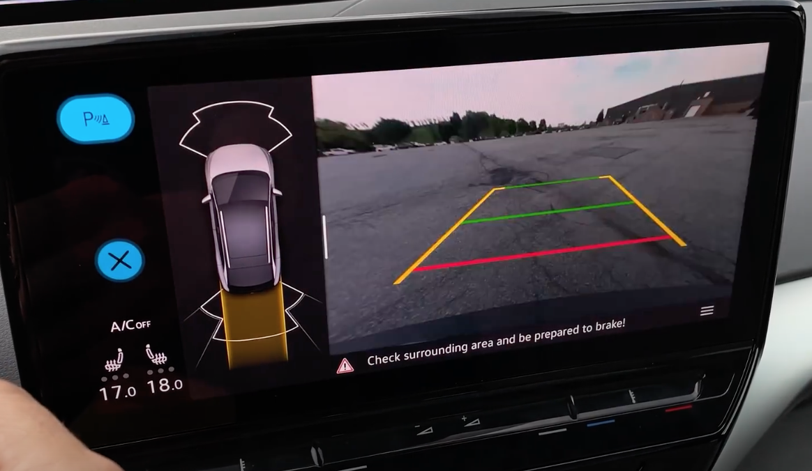 Rearview camera view on the infotainment screen to assist with parking