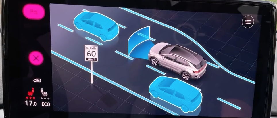 Driver assistance settings with a 3D model of a vehicle and adjustable things highlighted in a color