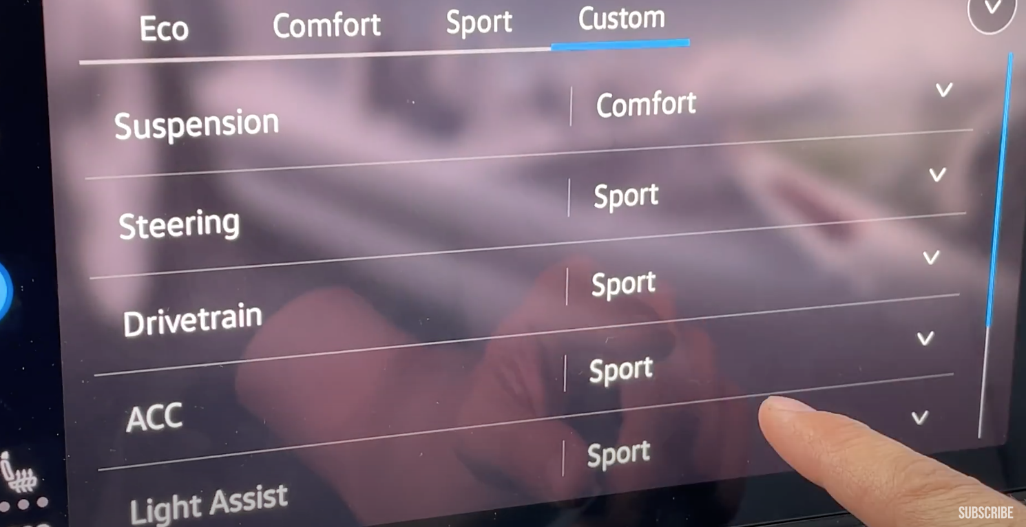 Setting up the details for the driving modes such as suspension and steering etc