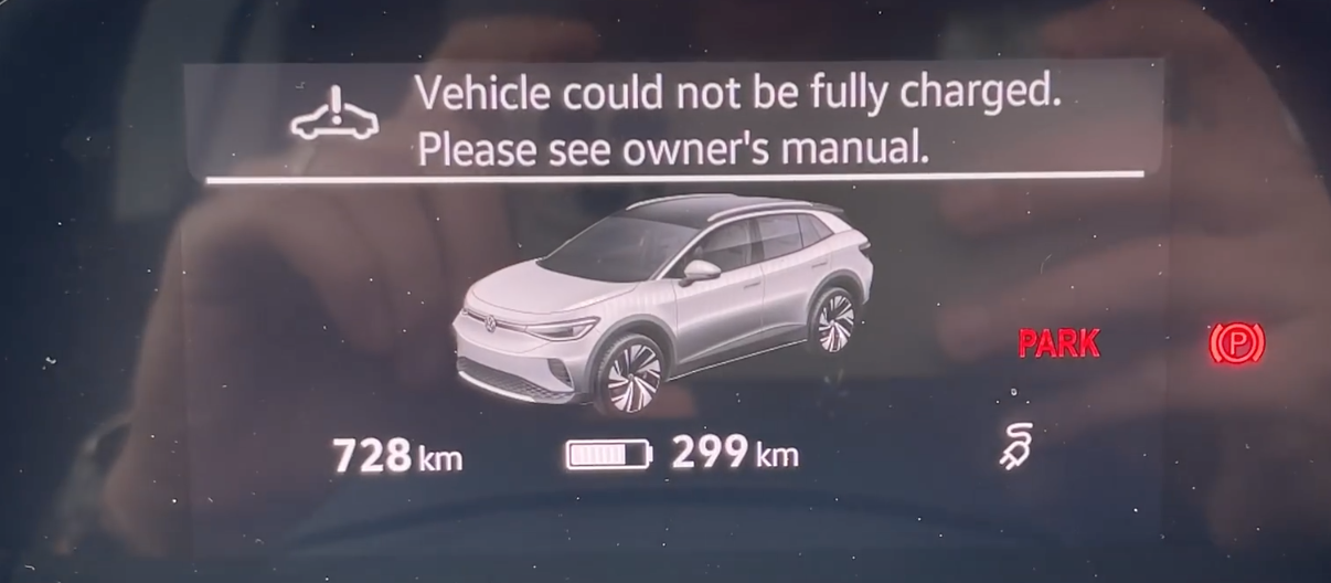 Informing a user that the vehicle could not be fully charged with a 3D model illustration of a car