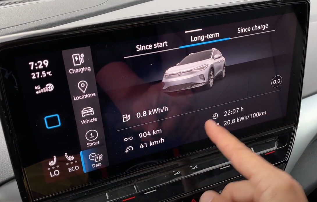 Long-term trip information such as speed, distance and power with a 3D model of a car