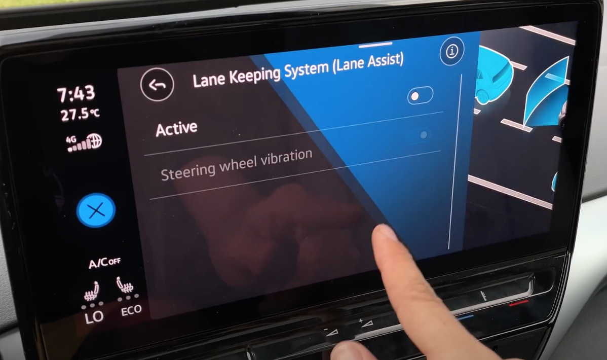 Adjusting driver assistance settings such as turning lane keeping systems and steering wheel vibration on and off