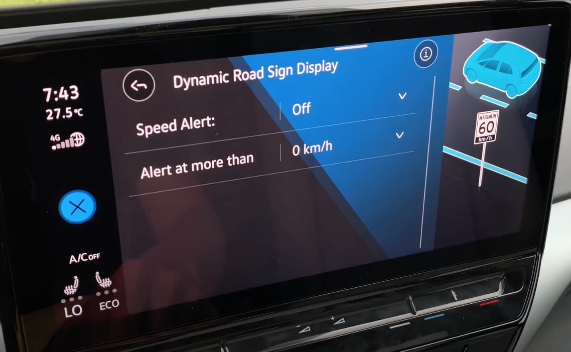 Adjusting the speed limit settings of a vehicle and at what point it will alert a user